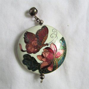 Cloisonne Butterfly & Lotus Double Sided Pendant